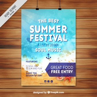 Aquarell Küste Sommer-Party-Plakat