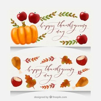 Aquarell-Packung mit Thanksgiving-Banner