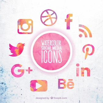 Aquarell Social Media Icons