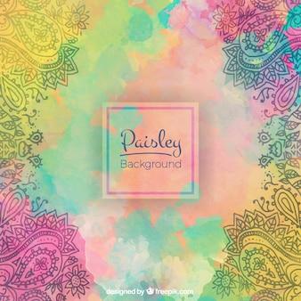 Aquarell spritzt Hintergrund in Paisley-Art