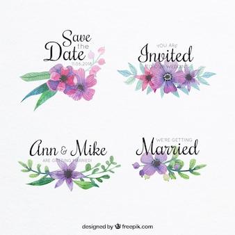 Aquarellblumenetiketten für Ehen