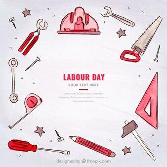 Arbeitstag Hintergrund mit Aquarell Zubehör und Werkzeuge