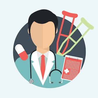 Arzt und medizinische Gegenstände