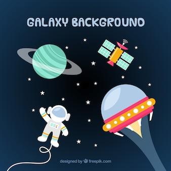 Astronautenhintergrund in der Galaxie