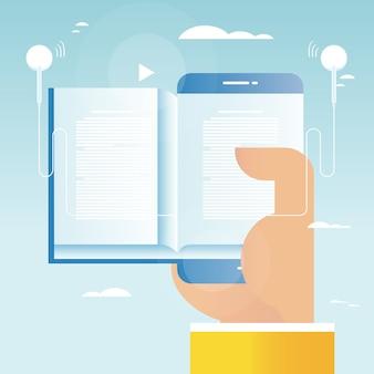 Audio-Buch, Online-Bildung, E-Buch Vektor-Illustration Design für mobile und Web-Grafiken. E-Learning, Online-Schulungen, Kurse, Internet-Studium, Online-Buch, Tutorials