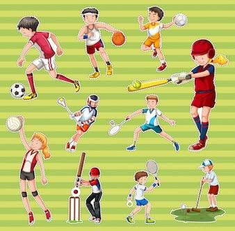 Aufkleber mit Menschen, die verschiedene Arten von Sportarten spielen