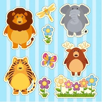 Aufkleber Set mit wilden Tieren auf blauem Hintergrund