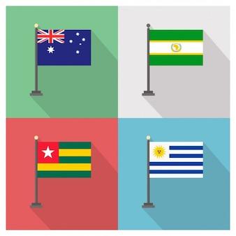 Australien Afrikanischen Union Togo und Uruguay Flags