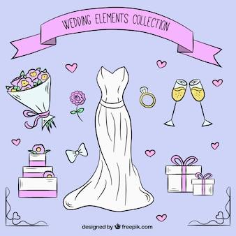 Auswahl der hübschen Hochzeitselemente in handgezeichneten Stil