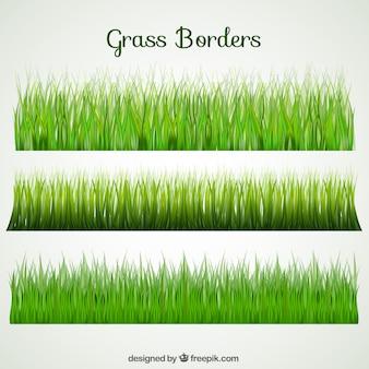 Auswahl von drei Gras Grenzen