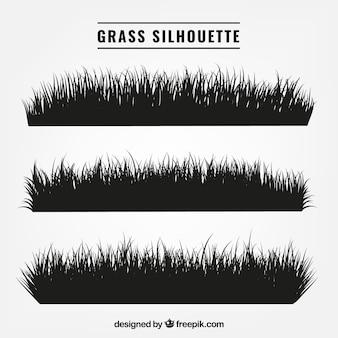 Auswahl von drei Gras Silhouetten