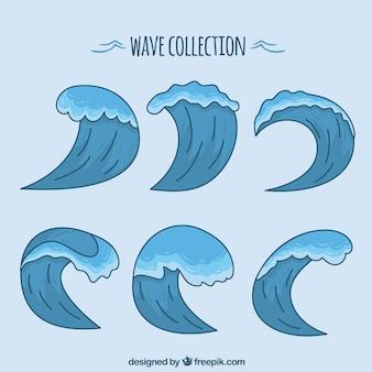 Auswahl von handgezeichneten Wellen in blauen Tönen