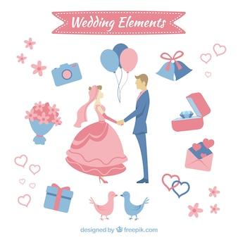 Auswahl von Hochzeitselemente in Pastellfarben