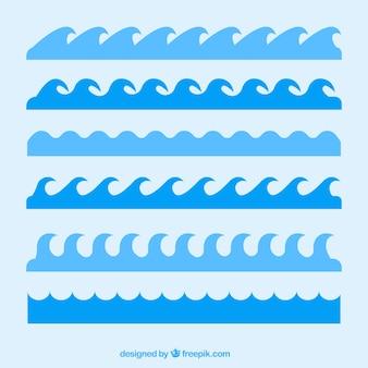 Auswahl von sechs blauen Wellen