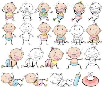 Baby Jungen und Mädchen in verschiedenen Posts Illustration