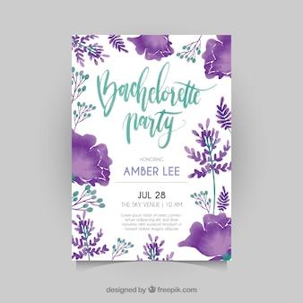 Bachelorette Einladung mit Aquarellblumen
