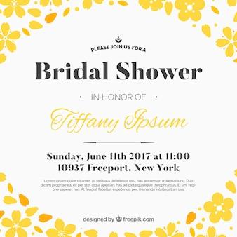 Bachelorette Einladung mit gelben Blüten