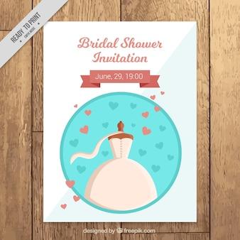 Bachelorette Einladung mit Hochzeitskleid