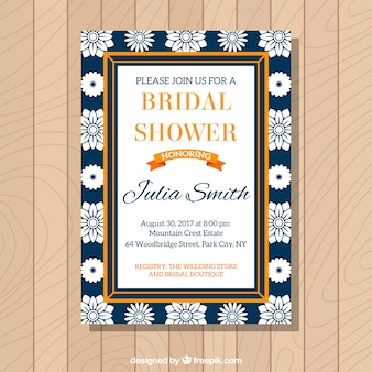 Bachelorette Einladung mit weißen Blumen und orangefarbenen Rahmen