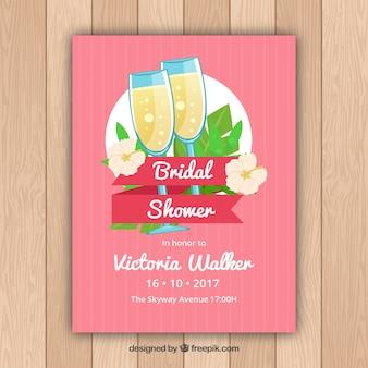 Bachelorette Partykarte mit Champagner