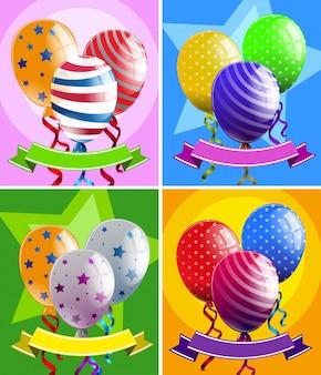 Ballons und Banner in vier Designs