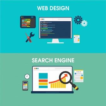 Banner von Web-Design und Suchmaschinen
