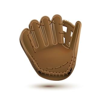 Baseball-Handschuh isoliert auf weiß realistische Objekte