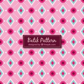 Batikmuster mit Rauten und Blumen