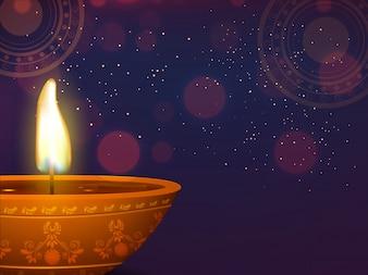 Beleuchtete, traditionelle Öl beleuchtete Lampe für Happy Diwali Feier Konzept.