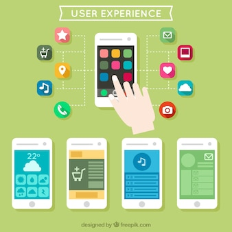 Benutzererfahrung mit Handys in flaches Design