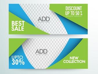 Bester Verkauf und Discount Website Header und Banner Design mit Platz für Ihre Bilder.