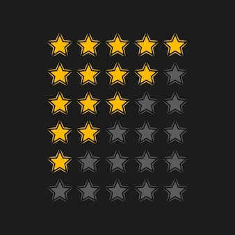 Bewertungssterne in schwarzem Hintergrund