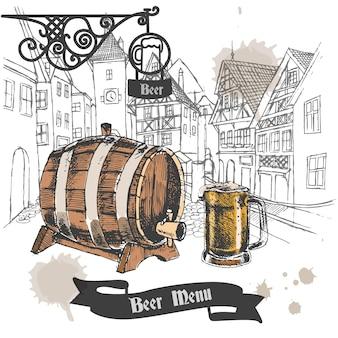 Bier-Bar Retro-Stil Menü Design Werbe-Plakat mit Eichenfass und voller Becher Skizze Vektor-Illustration