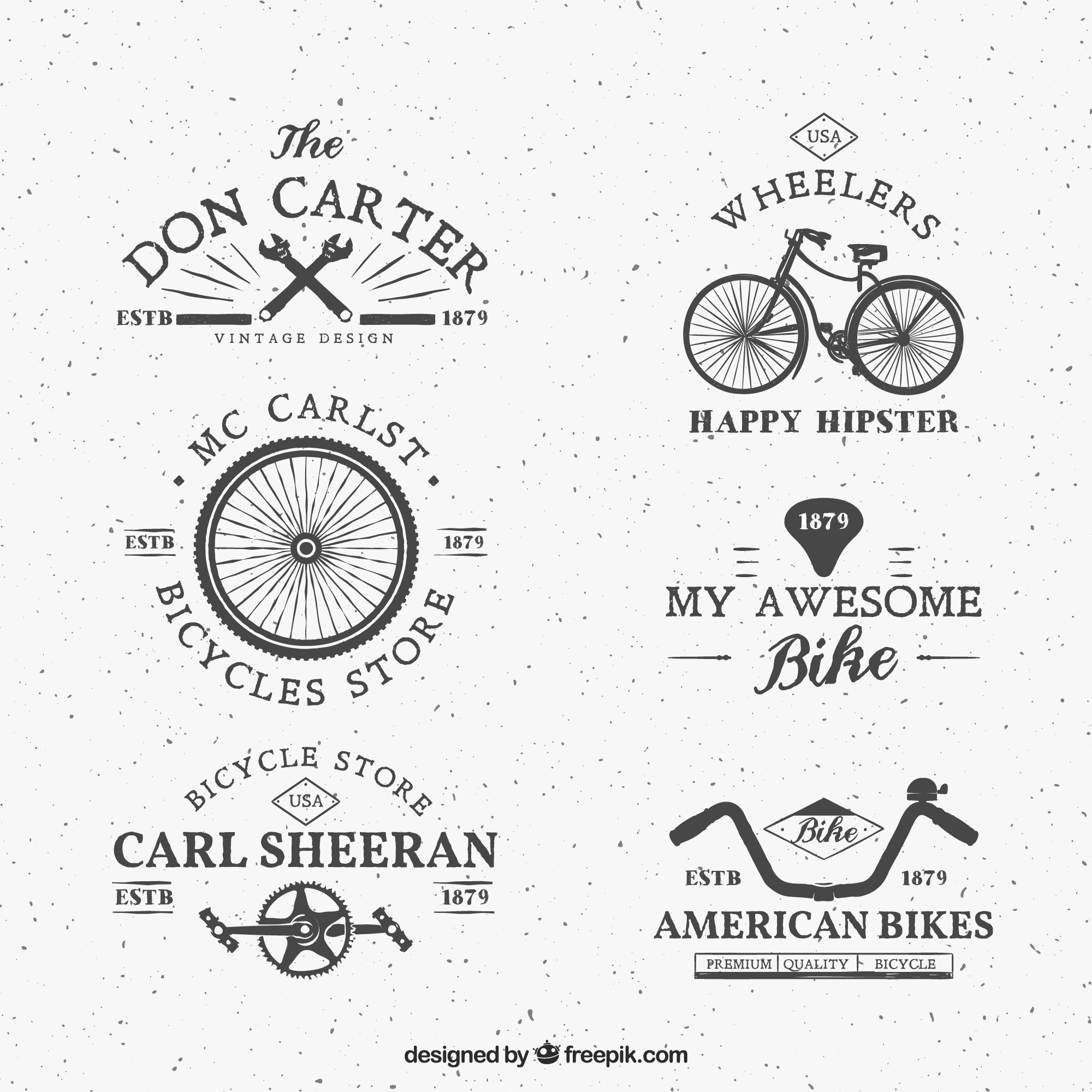 Bike-Logos im Retro-Stil