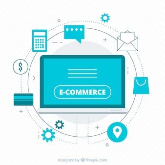 Bildschirm mit Einkaufssymbolen mit flachem Design