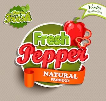 Bio-Etikett - frisches Pfeffer-Logo.
