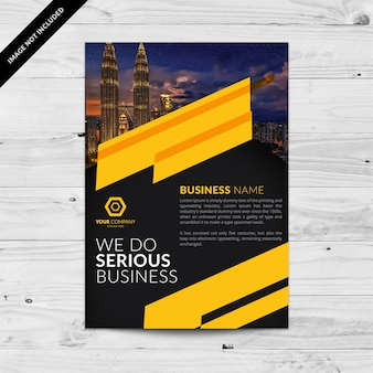 Black Business Broschüre mit gelben Formen