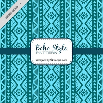 Blau Boho Muster mit geometrischem Dekor