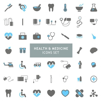 Blau und Grau Gesundheit und Medizin Icon Set