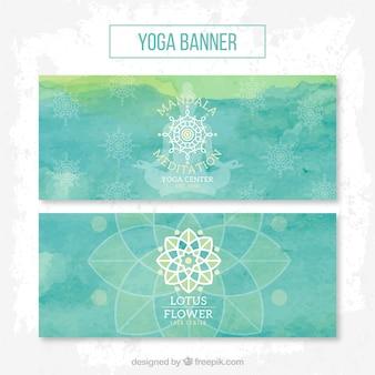 Blaue Aquarell Lotusblume Banner
