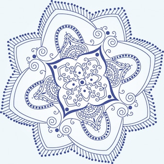 Blaue indische Blumenverzierungs-