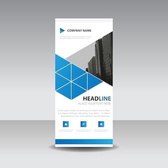 Blaue kreative Roll up Banner Vorlage