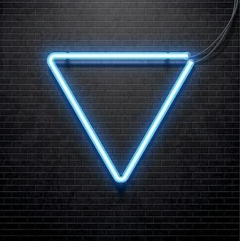 Blaue neonlampe isoliert auf schwarz brick wall
