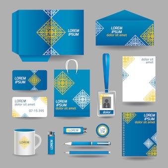 Blaue ornamentale Geschäftsbriefpapiervorlage
