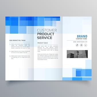 Blaue quadratische geometrische trifold broschüre design template