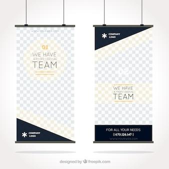 Blaue und goldene Geschäft Roll-up