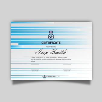 Blaue und weiße Zertifikatvorlage