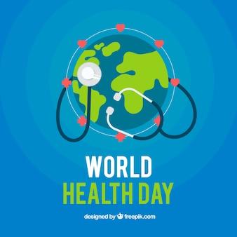 Blaue Welt Hintergrund mit Stethoskop