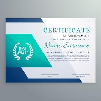 Blaue Zertifikat Design-Vorlage in geometrischen Form Stil