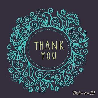 Blauer Blumenrahmen für danken Ihnen Karte